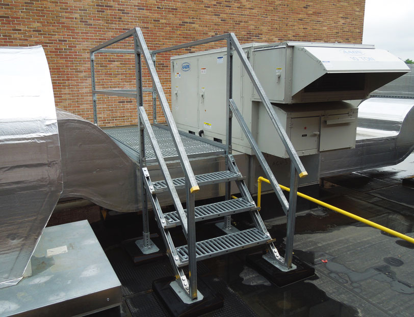 rooftop access platform installed next to HVAC equipment