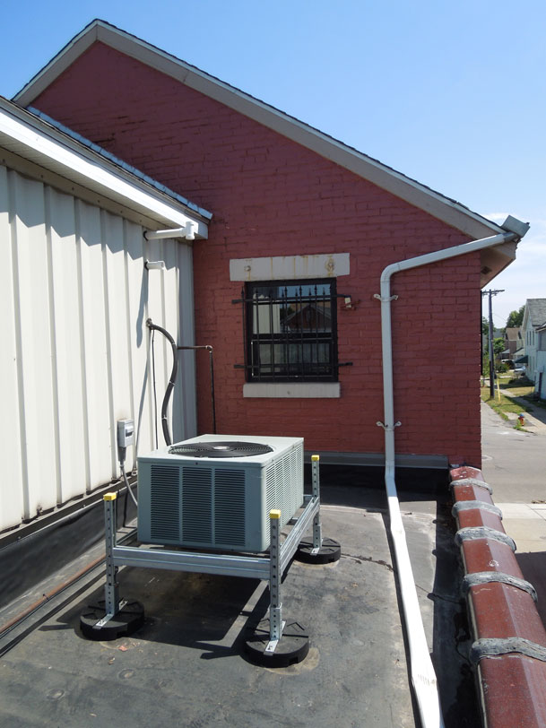 condenser unit support installed on rooftop