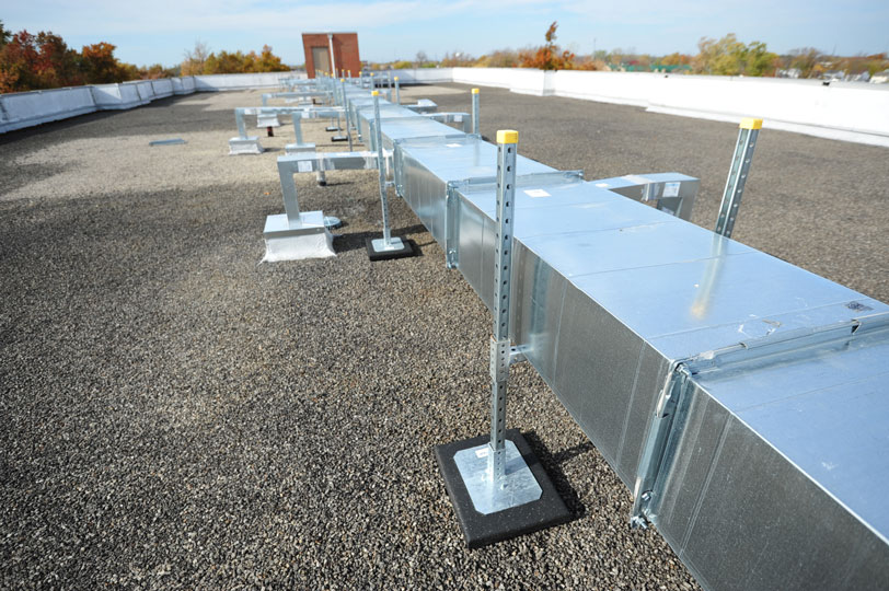 h-stands supporting rooftop duct work
