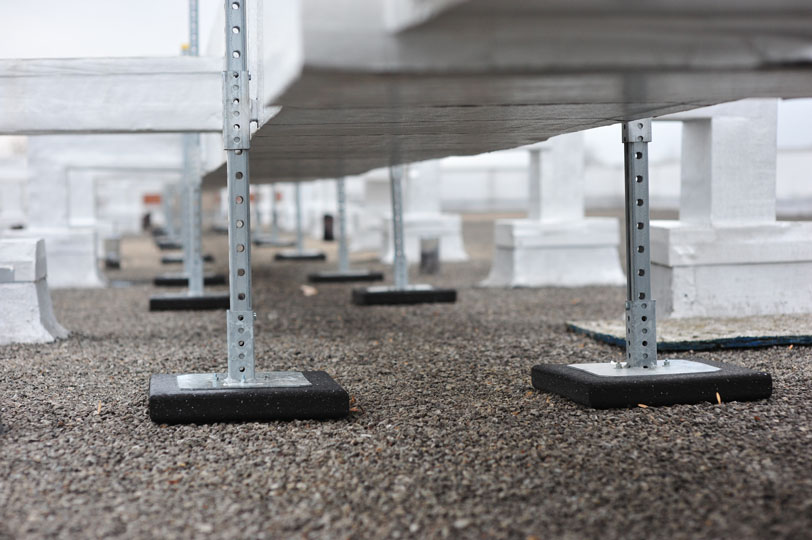non-penetrating rubber bases on roof