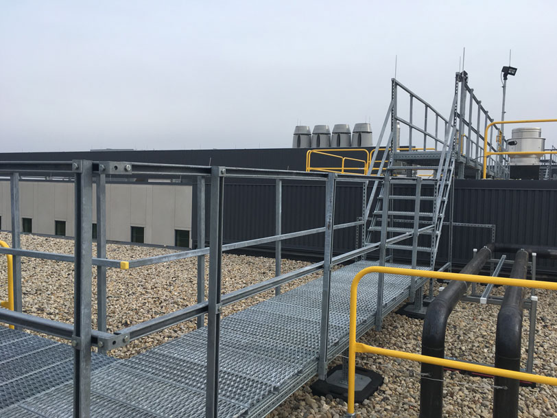rooftop walkway and roof guard rail system